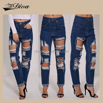 Ladies Top Design Bulk Jeans Pants High Quality Elegant Damaged ...