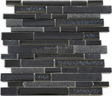 Black crystal glass stone wall mosaic tiles