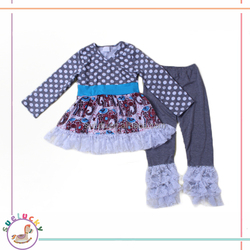 Lace ruffles and polka dots and elephants pattern wholesale boutique clothing dresses for girls