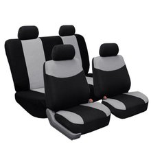 Modern Flat Cloth Car Seat Covers Gray / Black Color