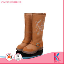 Super soft chestnut embroidery WOOL FELT winter snow boot women shoes