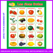 Spanish language kids toys educational wall chart with high quality image with delicious fruit poster