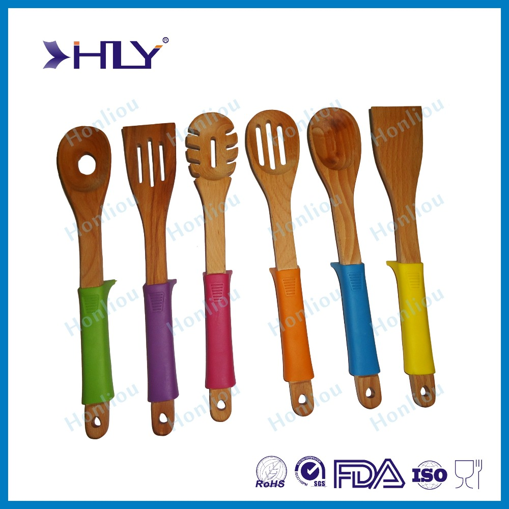 2015 new design silicone wooden kitchen utensils wood for Kitchen design utensils