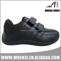 new design of children black school shoes