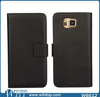 Hot New Products Folio Card Holder Genuine Leather Flip Cover for Galaxy Alpha G850 Wallet Case
