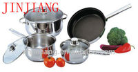 JJs-cw233 7pcs Stainless Steel Kitchen Cookware pots and pans set