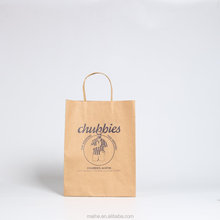 Disposable kraft paper logo custom printing grocery shopping recycled strong cheap bags with handle