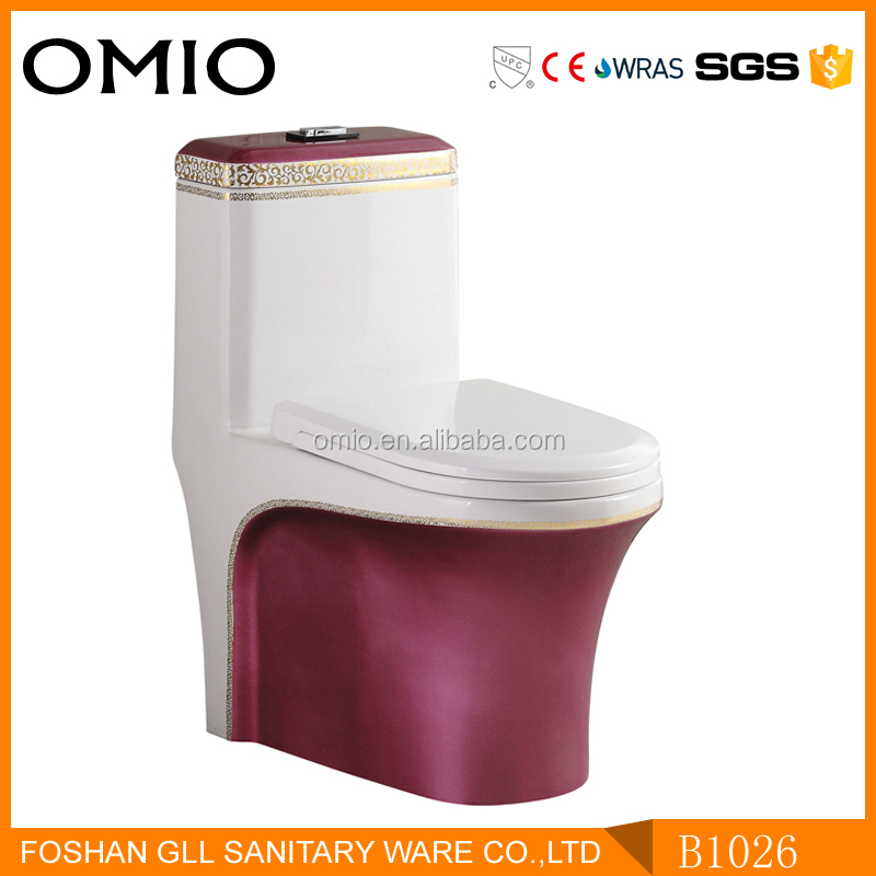 Western style color toilet ceramic one piece toilet with slow down seat cover