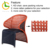 KD red french armrest rattan and chrome dining chair