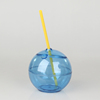 ECO-friendly bpa free plastic round ball shape with straw most popular straw cup