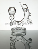 Glass candle holder animal dolphin shape,glass candle holder