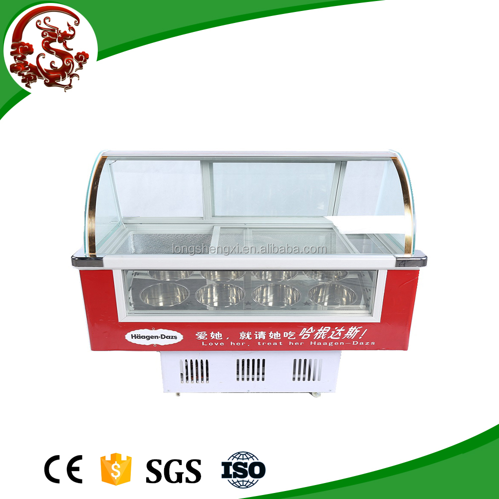 Ice cream dipping cabinet/ Ice cream showcase display freezer for supermarket and shop