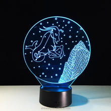 2017 New 12 constellation Capricorn Aquarius Pisces sign image 3D LED 7 colors acrylic night light touch remote control bedside