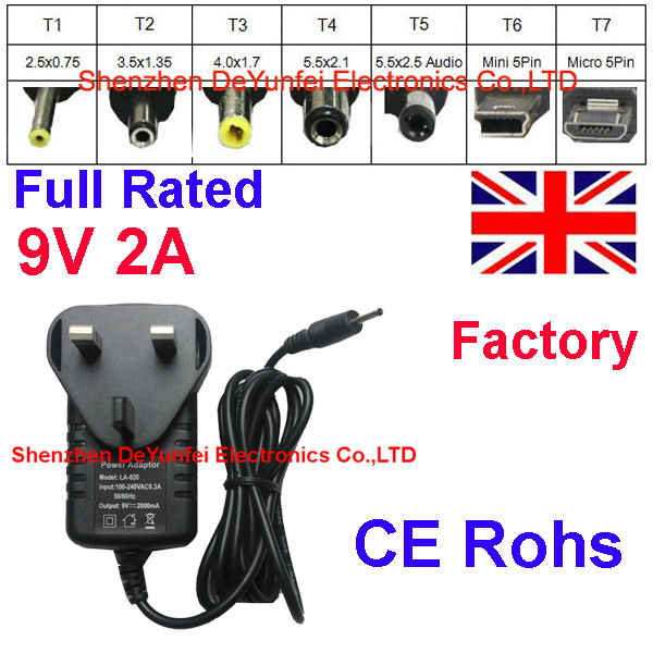 9V 2A Universal Tablet PC Chargers UK Mains Power Supply Adapter 9V 2A LA-920 LA920