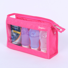 empty Silicone travel foldable squeeze shampoo cosemtic bottle set with travel bag