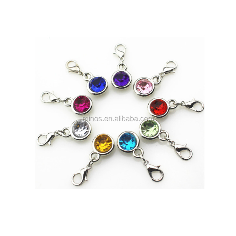 birthstone crystal charms with lobster clasp diy bracelet jewelry floating charm
