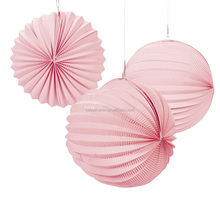 Pink Accordion Paper Lantern Round Paper Accordion Pleated Lanterns for wedding