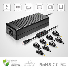very popular 120w universal laptop ac adapter with lcd screen and crysral head DC cable for Acer and hp
