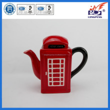 Hand Crafted Ceramic Red Glaze London Telephone Booth Teapot Wholesale