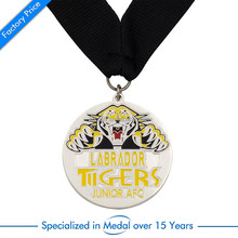 Wholesale custom made metal embossed 3D animal lion head shaped silver plating zinc alloy medal