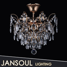 Modern home crystal drop lamp brass finish light for dining room chandelier