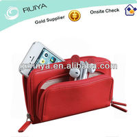 Red / Black Leather Double-zipper Closure Cell Phone Purse MP3 Player Bag Mini Camera Pouch Earbud Holder Bag for Ladies