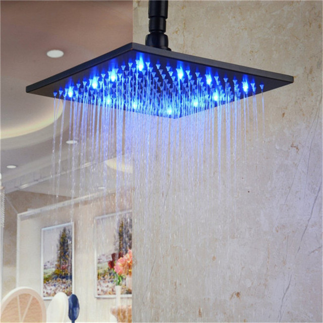 Single Blue color Stainless Steel black led shower heads china with 8 inch oil rubber