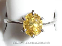 18K White Gold Yellow Sapphire Ring with Studded Diamonds