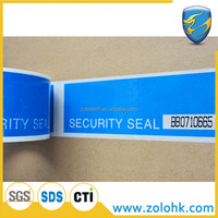 High quality tamper evident sticker tape, custom printed open void security tape with perforation line and unique serial number