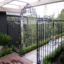 wrought iron fencing Black powder coated security backyard metal steel picket fence