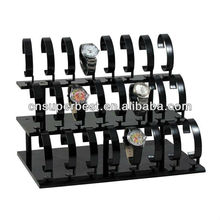 black acrylic watch display stand holder with 3 tiers