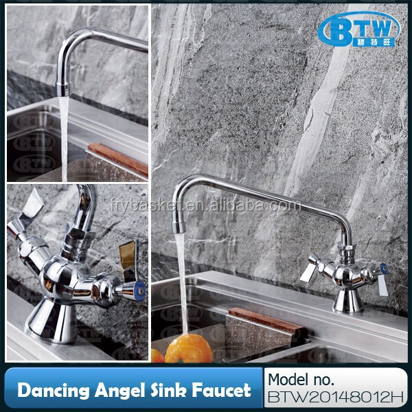 "Double Lever Handles Kitchen Sink Single Hole Mixer Tap with 12"" Spout, Cold and Hot Water Tap"