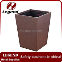 Hotel amenity leatherette wooden rubbish bin,garbage can