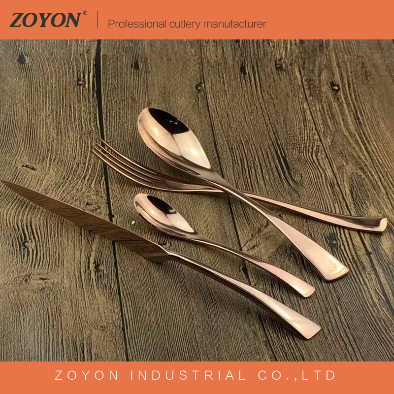 hotel and restaurant use rose gold plated flatware wholesale