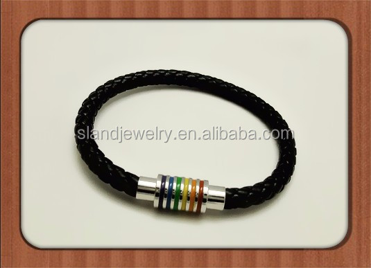 Leather Magnetic Braided Lgbt Rainbow Bangle Bracelet - Gay & Lesbian Pride