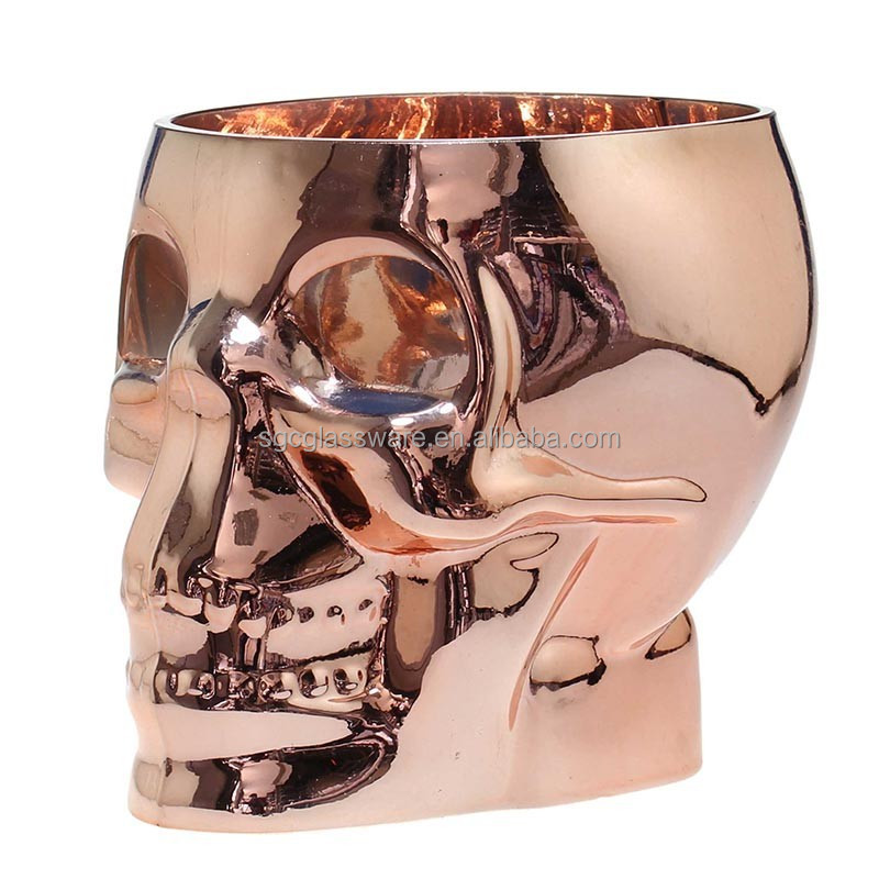rose gold plated glass skull candle holder