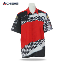 OEM Pit crew team wear mens custom sublimation racing jersey/shirt