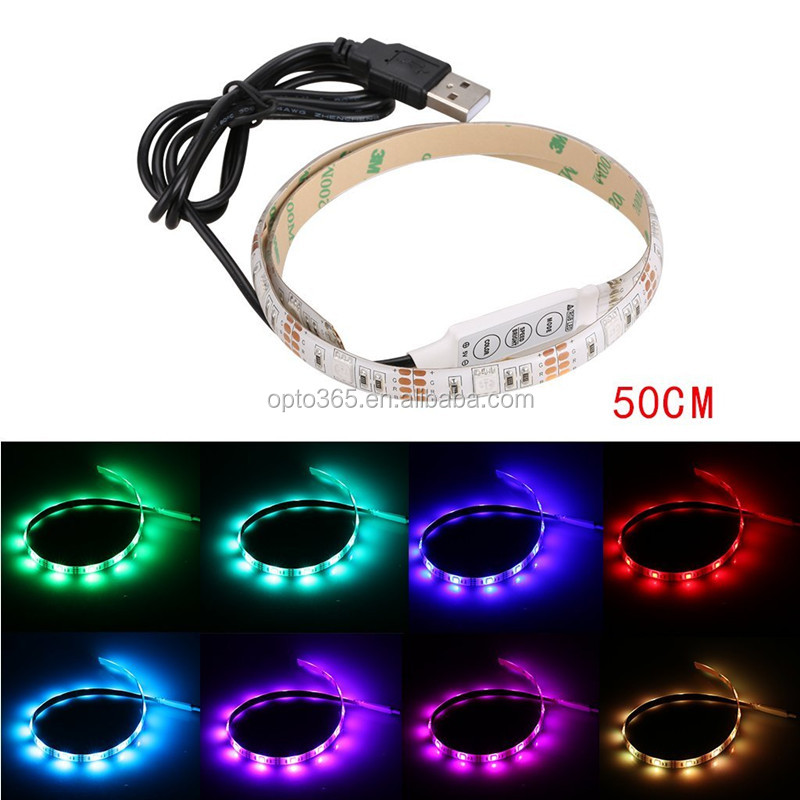 5V LED Strip 5050 RGB waterproof + mini controller + USB cable to Notebook PC TV