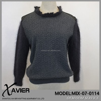 Brand factory Knitted lotus leaf Stand collar cowl neck sweater ottoman weave with marten hair