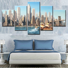 Unframed Modern Canvas Painting 5pcs Night City Landscape Painting Canvas Prints Wall Art Picture
