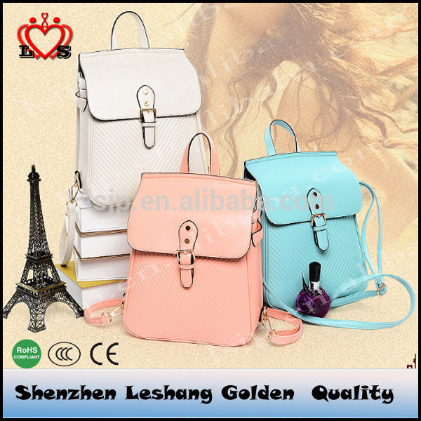 High quality girls leather back pack women pu backpack for college