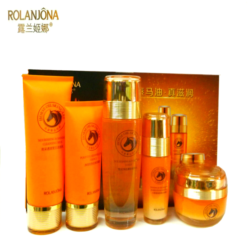 A6837 Horse Oil Skin Care Set 5-piece Facial Cleanser+Exfoliator+Skin Toner+Day Cream+Liquid Foundation whitening cream