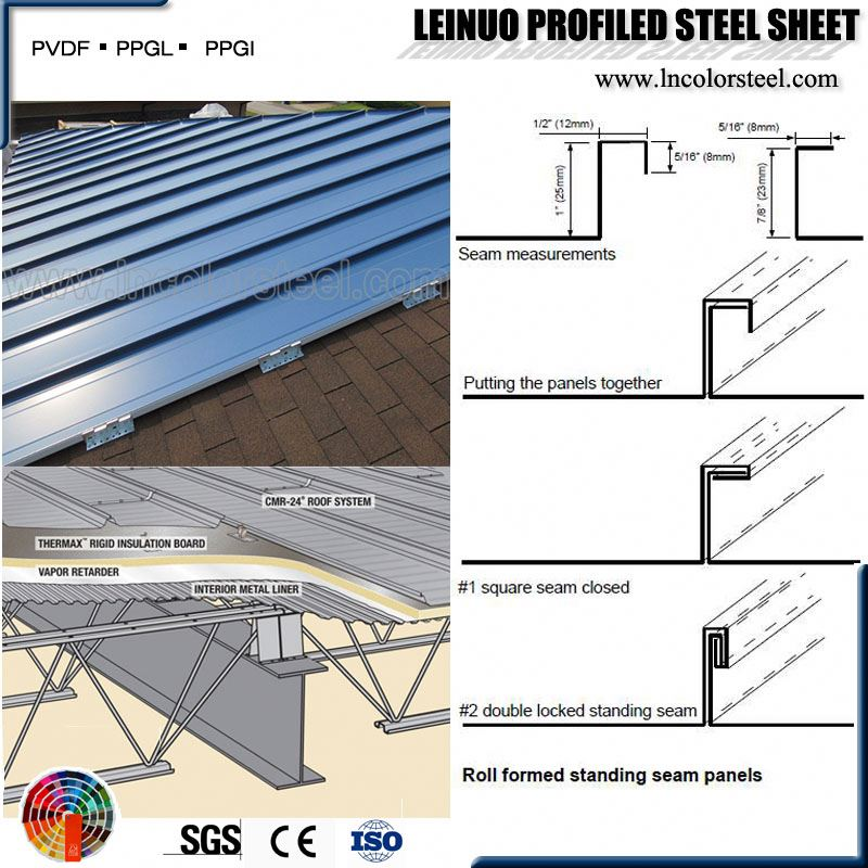 Factory direct sell high hardness short edge standing seam metal roofing panel wholesale