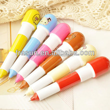 Plastic cheap cute design pill capsule shape short folding ballpoint pen