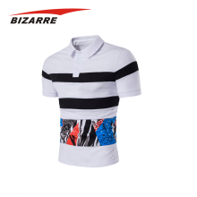 Men cheap tailored collar 100 polyester polo shirts striped