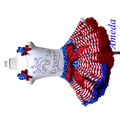 4th July - Blue Star Red Stripes Pettiskirt 4th July Princess Rhinestone White Tank Top Party Dress 1-7Y