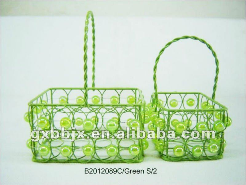 Set of Two Green Rectangle Iron/Plastic bead promotional gift basket for holiday gift item sales