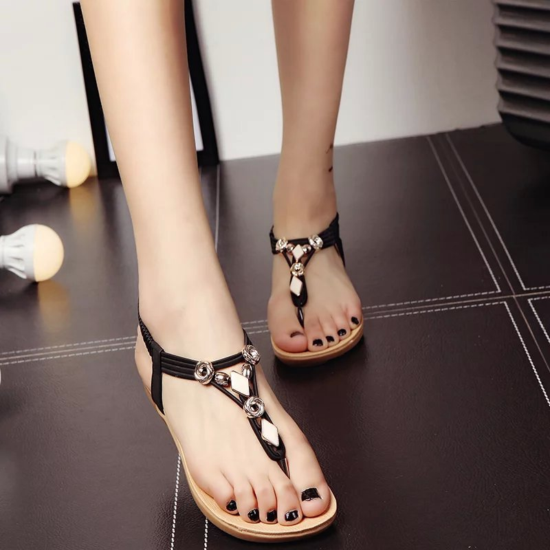 B30015A 2016 latest big size Bohemian style beads flat ladies fancy woman sandals
