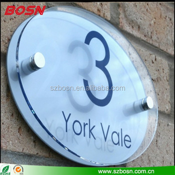 clear acrylic door plate sign perspex house door number sign