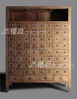 Chinese antique furniture- many drawers distressed medicine cabinet